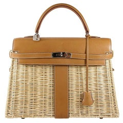 HERMES 35cm Barénia Fauvre Straw Kelly Picnic Bag Natural