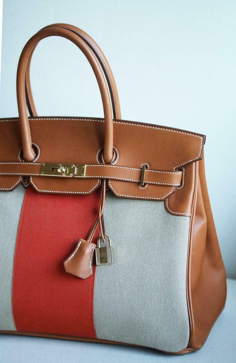 Brown Hermès 35CM Barenia Toile Permabrass H/W Birkin Bag For Sale