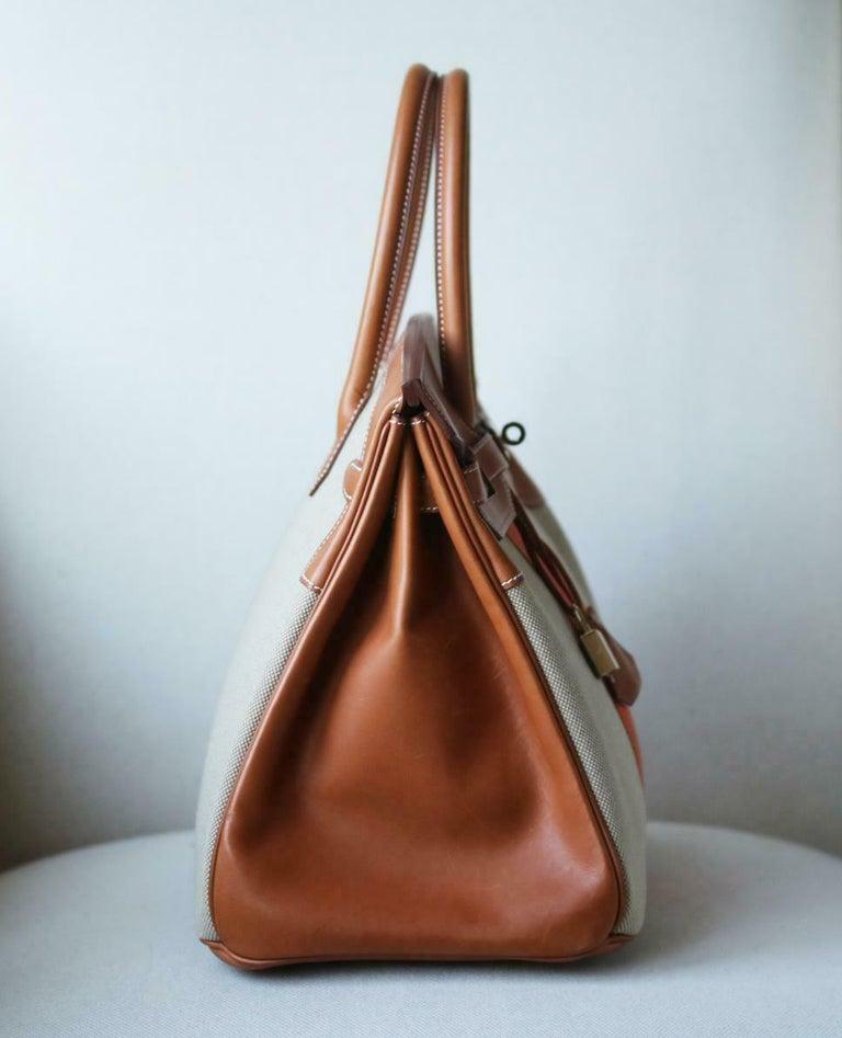 Hermès 35CM Barenia Toile Permabrass H/W Birkin Bag In New Condition For Sale In London, GB