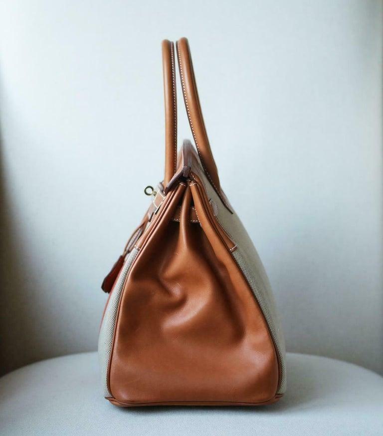 Women's or Men's Hermès 35CM Barenia Toile Permabrass H/W Birkin Bag For Sale