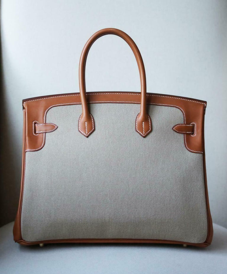 Hermès 35CM Barenia Toile Permabrass H/W Birkin Bag For Sale 1