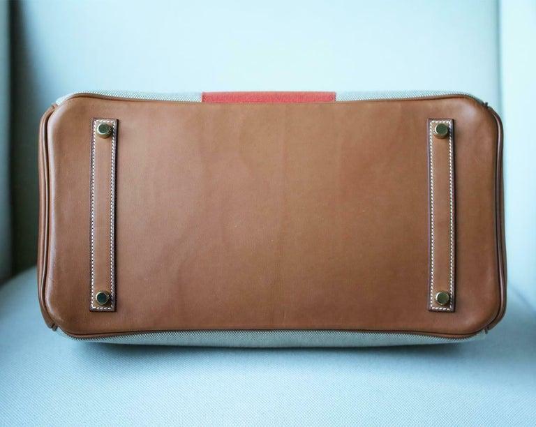 Hermès 35CM Barenia Toile Permabrass H/W Birkin Bag For Sale 2