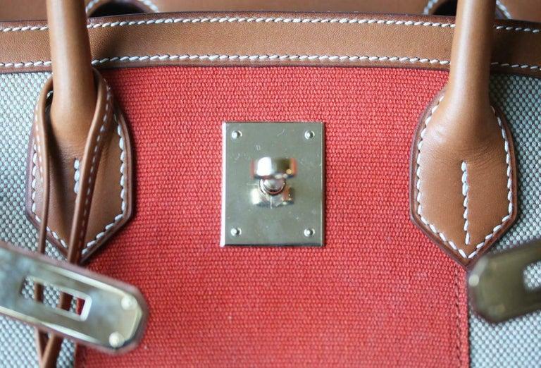 Hermès 35CM Barenia Toile Permabrass H/W Birkin Bag For Sale 3