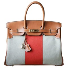 Hermès 35CM Barenia Toile Permabrass H/W Birkin Bag