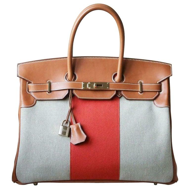 Hermès 35CM Barenia Toile Permabrass H/W Birkin Bag For Sale