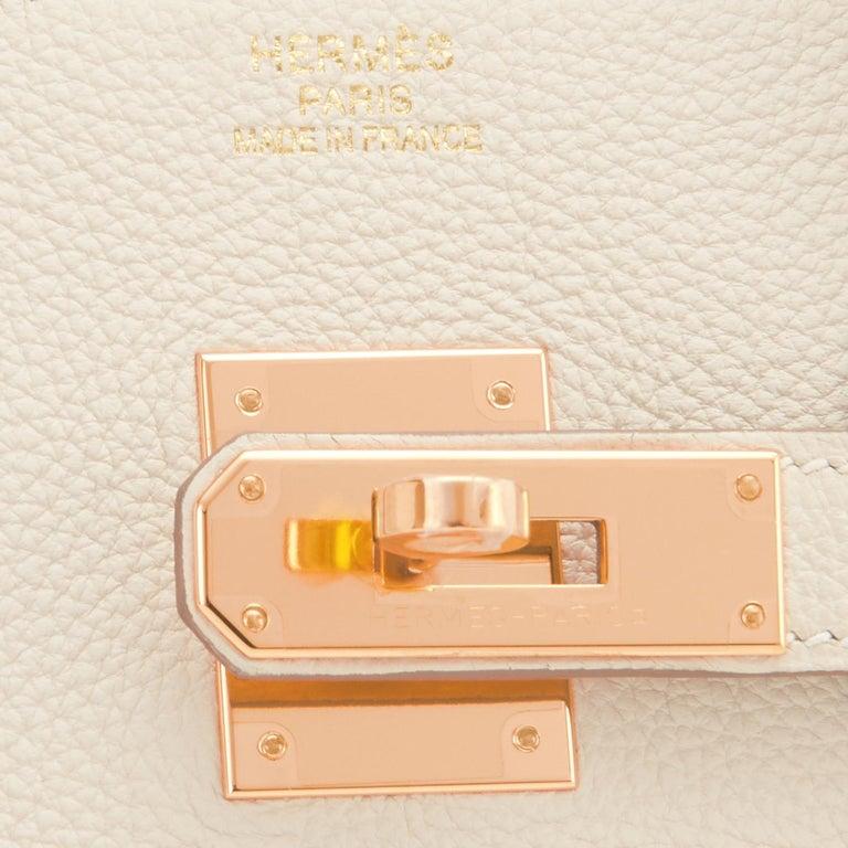 Hermes 35cm Birkin Craie Chalk Off White Togo Rose Gold Hardware Y Stamp, 2020 For Sale 5