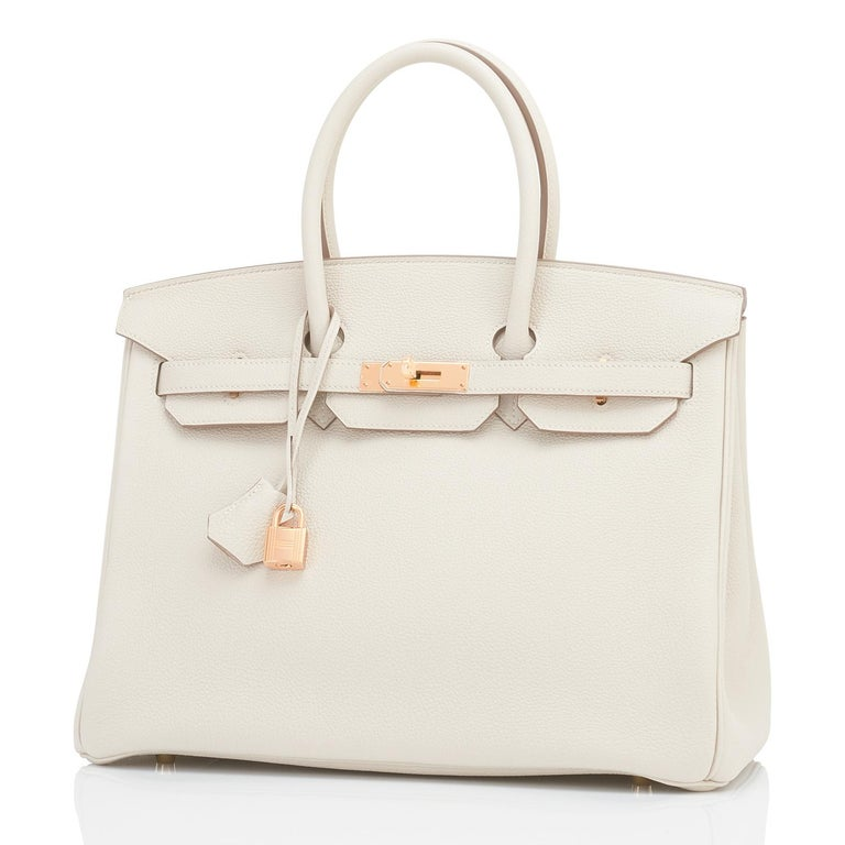 Hermes Craie 35cm Birkin Togo Rose Gold Hardware Chalk Off White Y Stamp, 2020 Just purchased from Hermes store; bag bears new interior 2020 Y Stamp. Brand New in Box. Store fresh. Pristine Condition (plastic on hardware.)  Perfect gift! Comes in