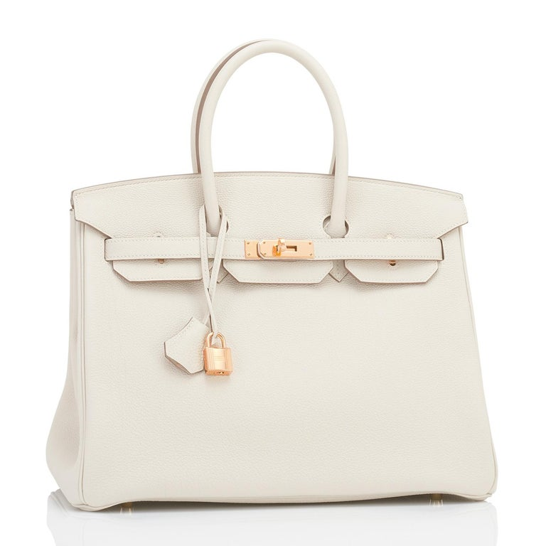 Hermes 35cm Birkin Craie Chalk Off White Togo Rose Gold Hardware Y Stamp, 2020 In New Condition For Sale In New York, NY