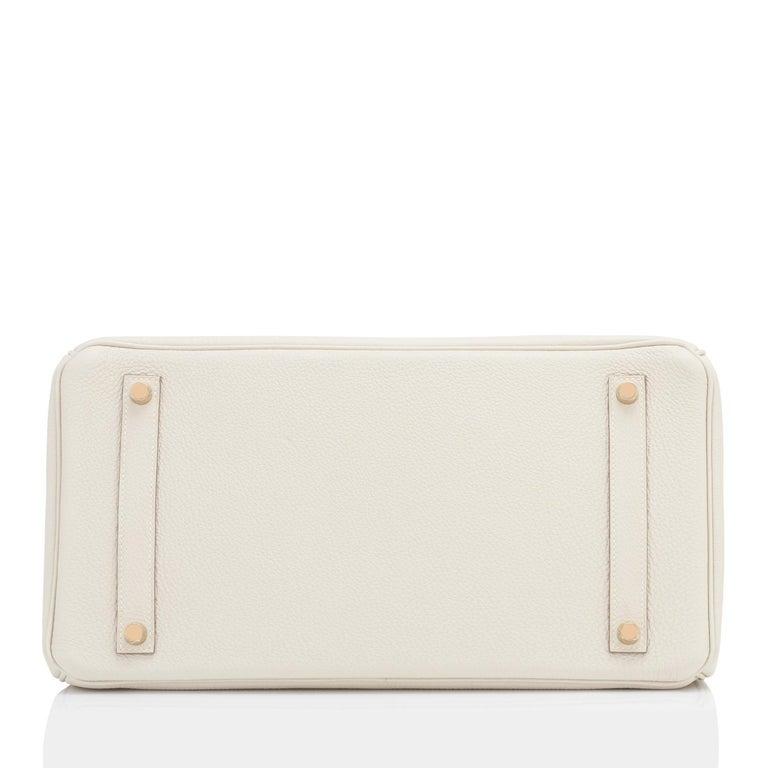 Hermes 35cm Birkin Craie Chalk Off White Togo Rose Gold Hardware Y Stamp, 2020 For Sale 2