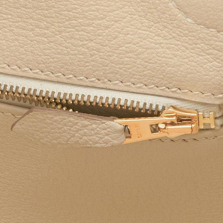 Hermes 35cm Birkin Craie Chalk Off White Togo Rose Gold Hardware Y Stamp, 2020 For Sale 4