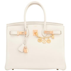 Hermes 35cm Birkin Craie Chalk Off White Togo Rose Gold Hardware Y Stamp, 2020
