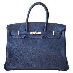 Hermès 35cm Bleu Nuit/Rose Pourpre Togo Verso Palladium H/W Birkin Bag
