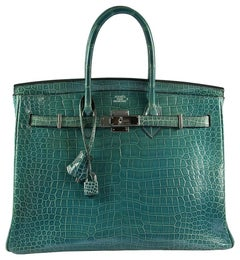 HERMES 35cm Blue Baon Crocodile Birkin Bag