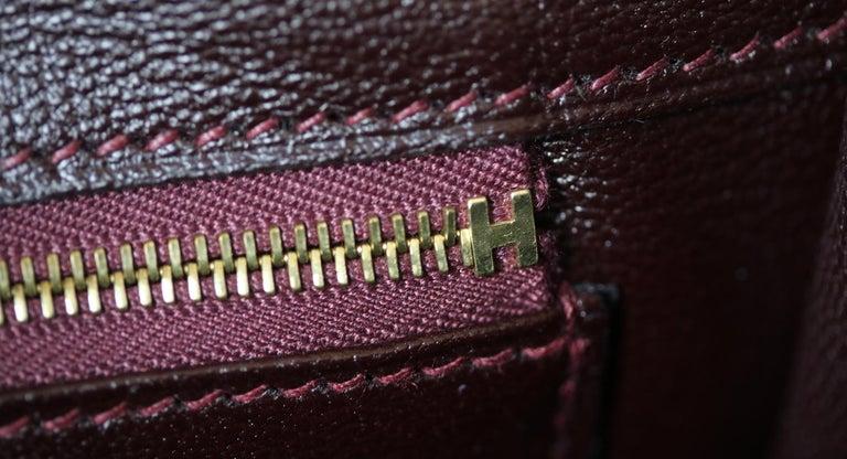 Hermès 35cm Burgundy Porosus Crocodile Gold H/W Birkin Bag  For Sale 7