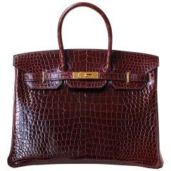 Hermès 35cm Burgundy Porosus Crocodile Gold H/W Birkin Bag