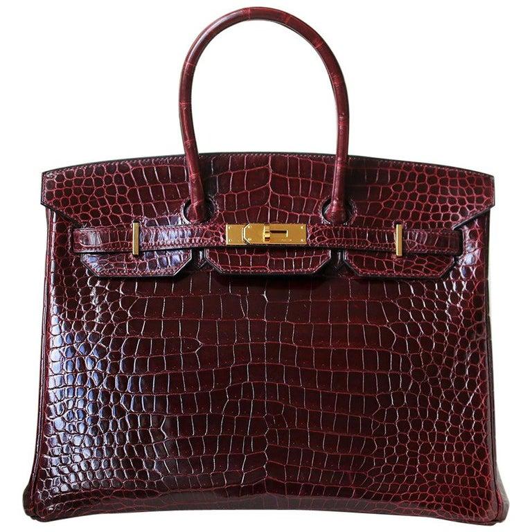 Hermès 35cm burgundy porosus crocodile Birkin, 21st Century, offered by Nikki Bradford