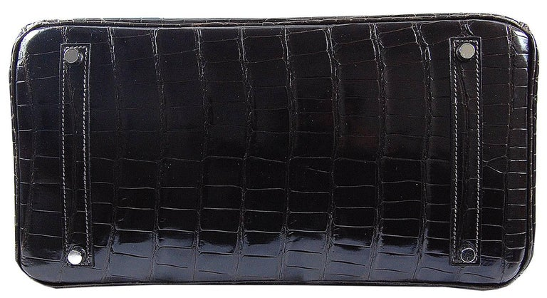 Black Hermes 35cm Crocodile Cacao Porosus Birkin Bag For Sale