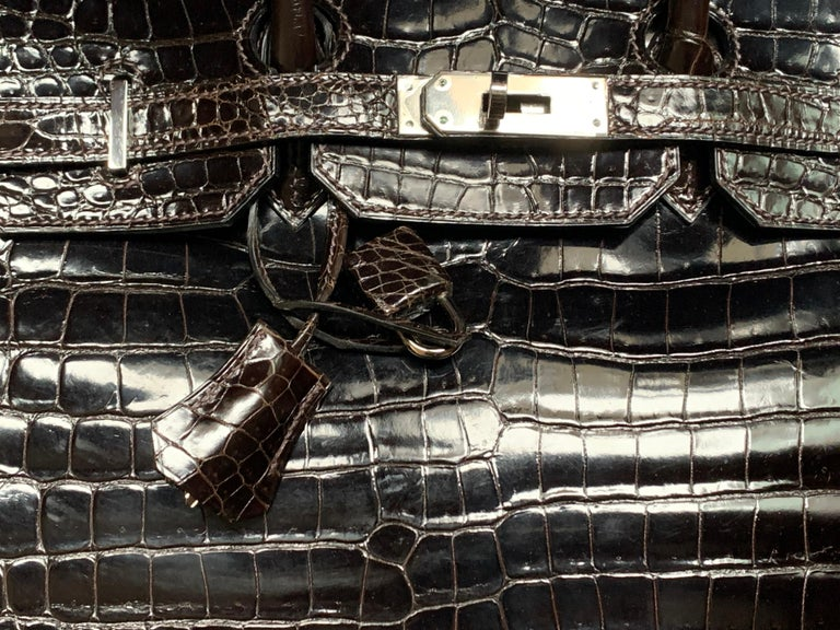 Women's Hermes 35cm Crocodile Cacao Porosus Birkin Bag For Sale