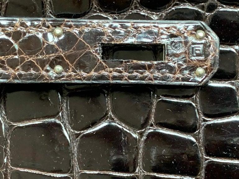 Hermes 35cm Crocodile Cacao Porosus Birkin Bag For Sale 1