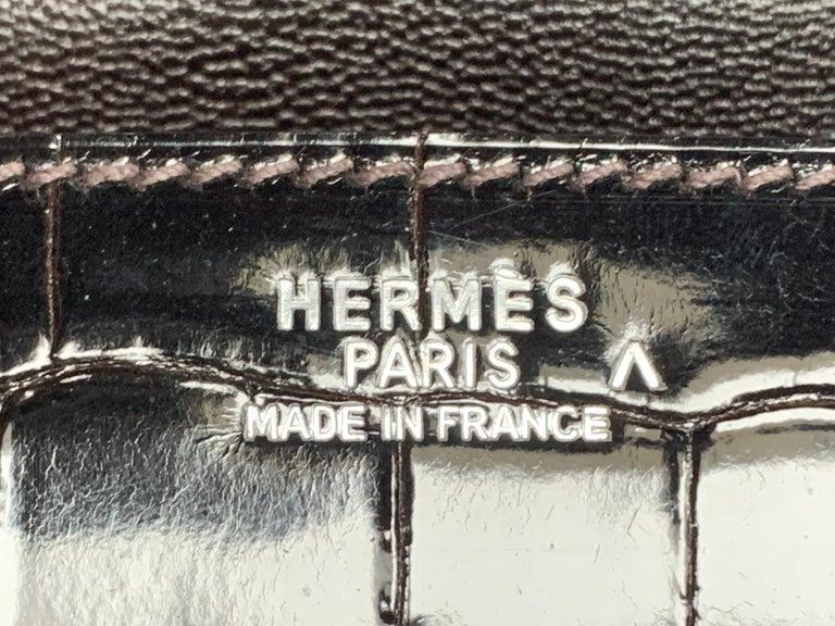 Hermes 35cm Crocodile Cacao Porosus Birkin Bag For Sale 2