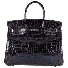 Hermes 35cm Crocodile Cacao Porosus Birkin Bag