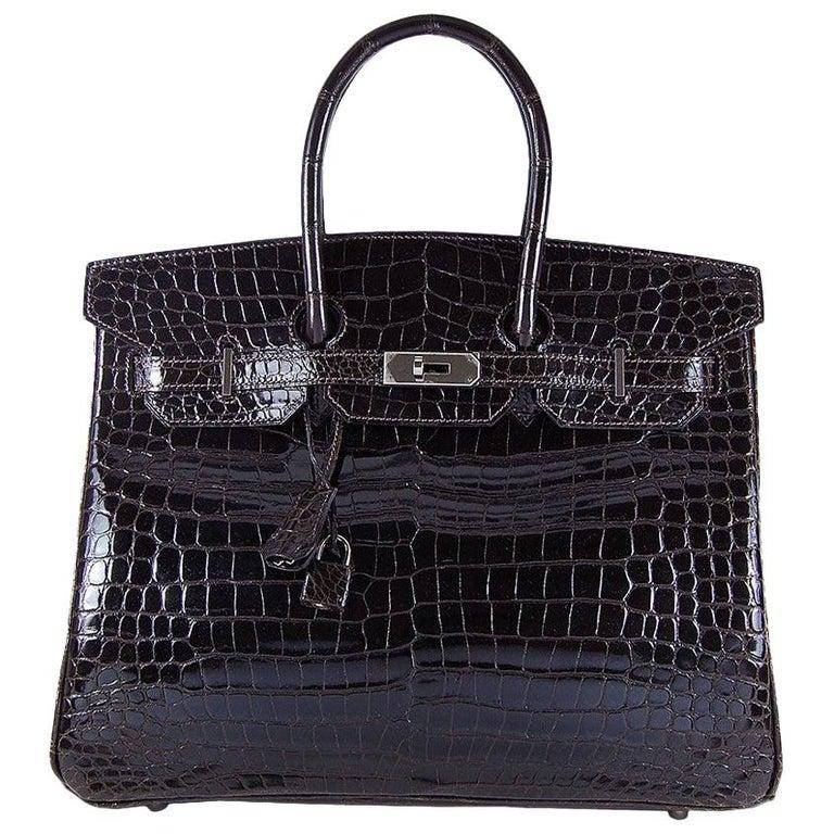 Hermes 35cm Crocodile Cacao Porosus Birkin Bag For Sale