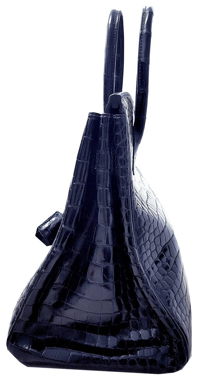 Black HERMES 35cm Crocodile Dark Blue Birkin Bag For Sale