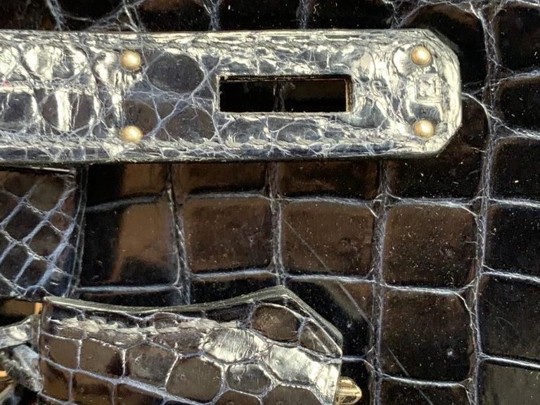 HERMES 35cm Crocodile Dark Blue Birkin Bag For Sale 1