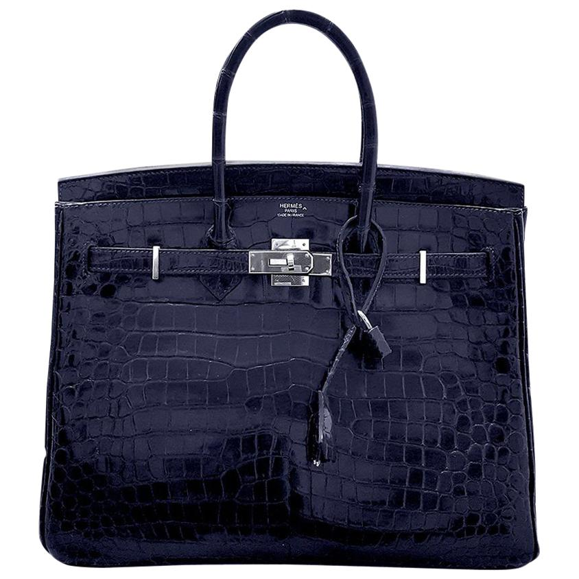 HERMES 35cm Crocodile Dark Blue Birkin Bag