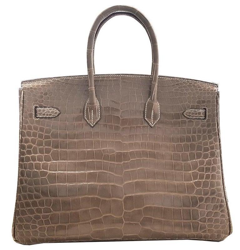 Brown HERMES 35cm Crocodile Poussiere Porosus Birkin Bag For Sale