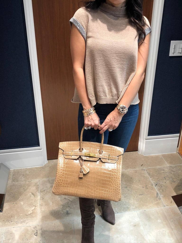 Women's HERMES 35cm Crocodile Poussiere Porosus Birkin Bag For Sale