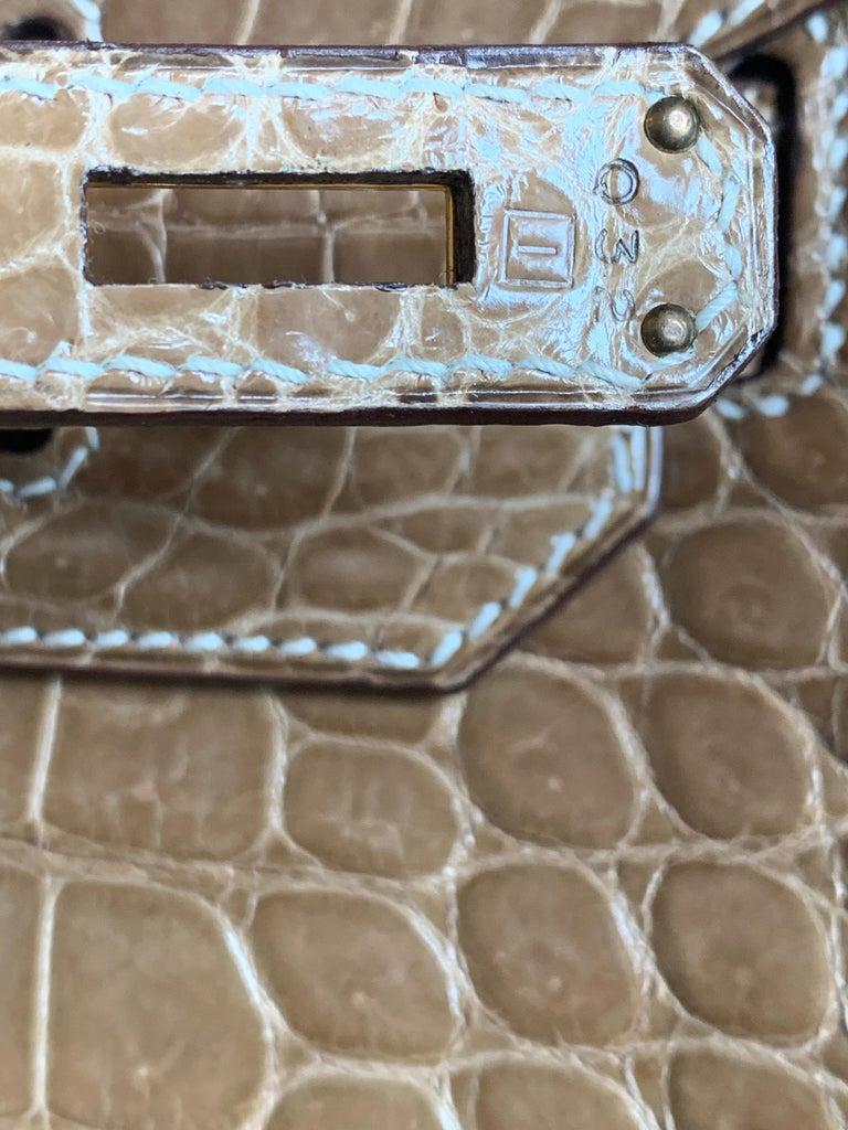 HERMES 35cm Crocodile Poussiere Porosus Birkin Bag For Sale 2
