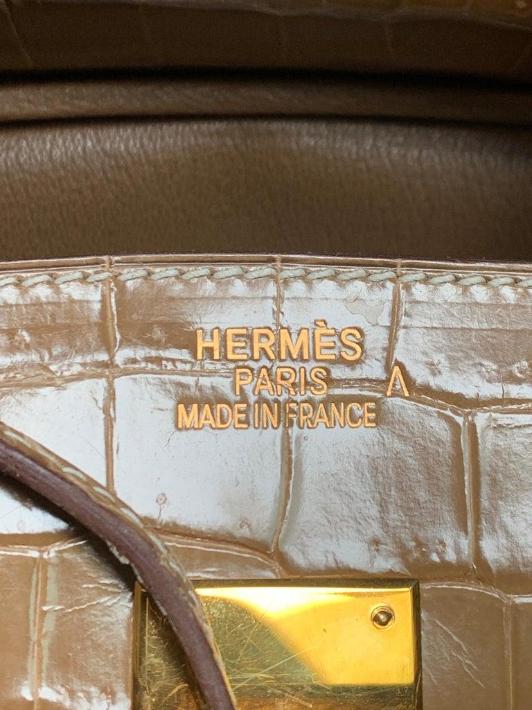 HERMES 35cm Crocodile Poussiere Porosus Birkin Bag For Sale 3