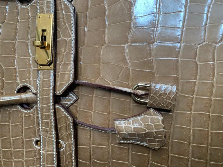 HERMES 35cm Crocodile Poussiere Porosus Birkin Bag For Sale 4