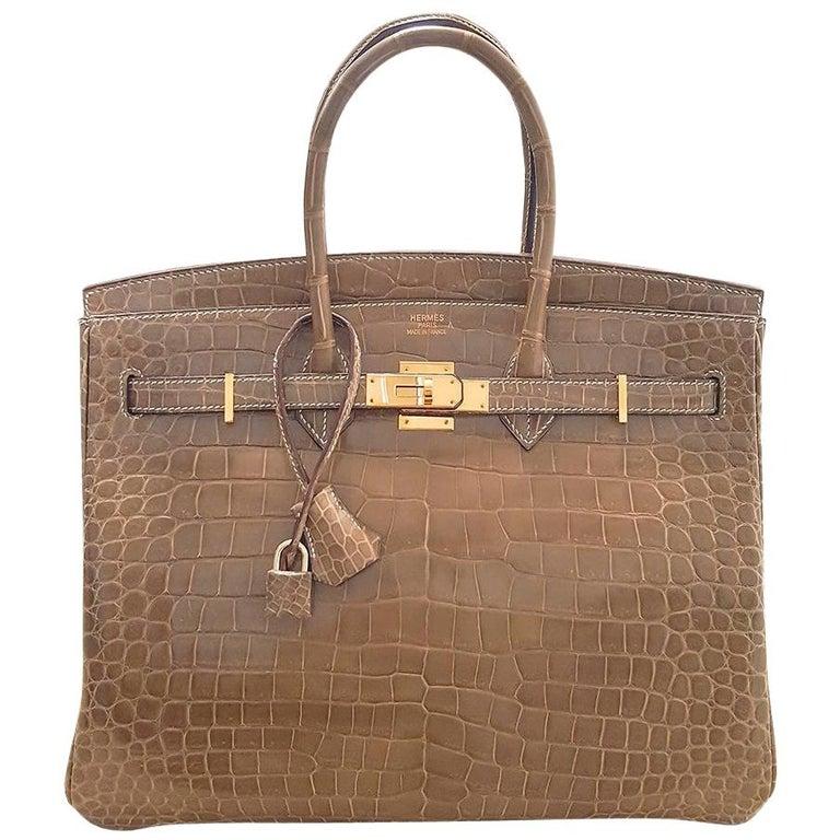 HERMES 35cm Crocodile Poussiere Porosus Birkin Bag For Sale
