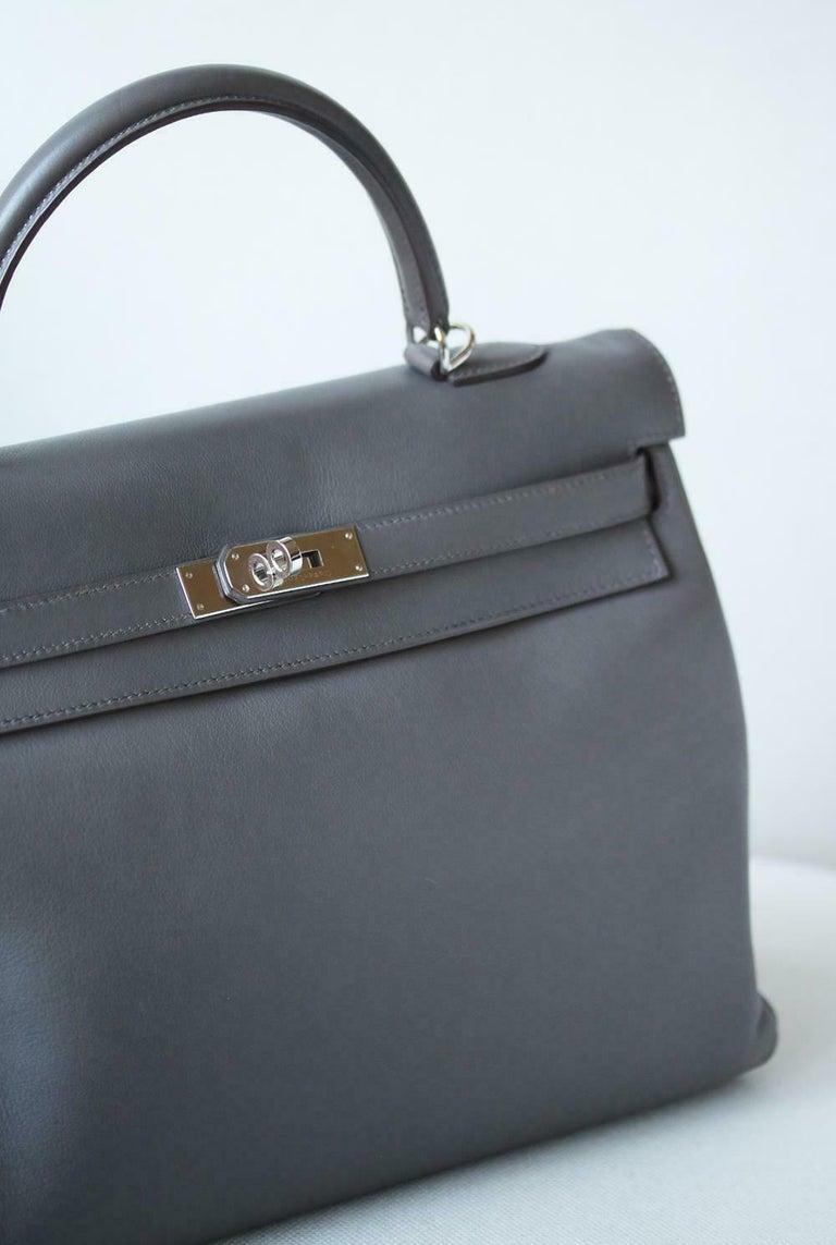 Gray Hermès 35cm Etain Swift Palladium H/W Kelly Retourne Bag For Sale