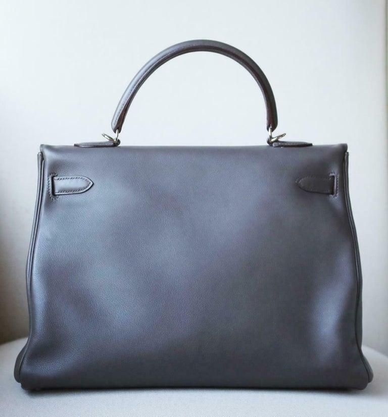 Hermès 35cm Etain Swift Palladium H/W Kelly Retourne Bag For Sale 1