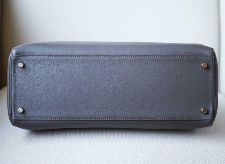 Hermès 35cm Etain Swift Palladium H/W Kelly Retourne Bag For Sale 2