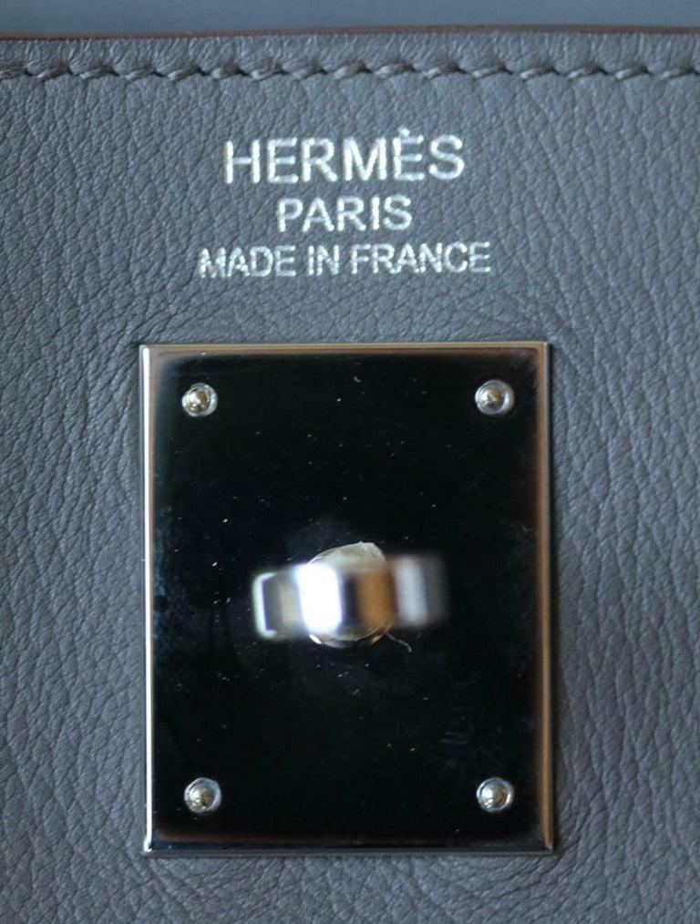 Hermès 35cm Etain Swift Palladium H/W Kelly Retourne Bag For Sale 3