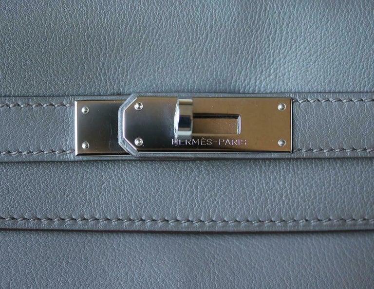 Hermès 35cm Etain Swift Palladium H/W Kelly Retourne Bag For Sale 4