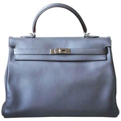 Hermès 35cm Etain Swift Palladium H/W Kelly Retourne Bag
