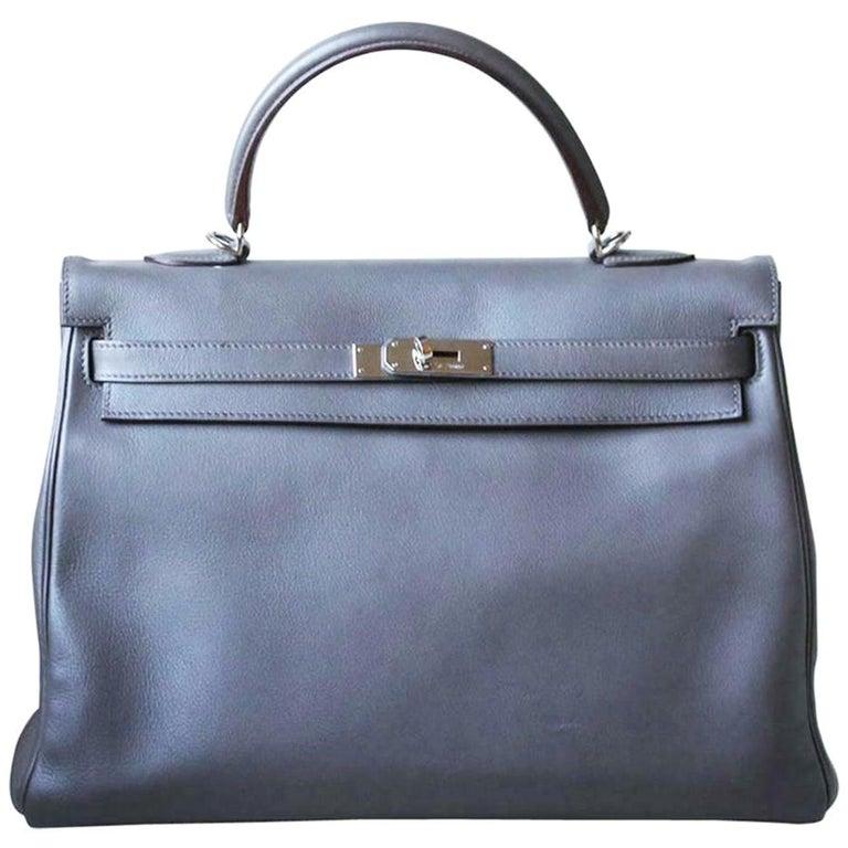 Hermès 35cm Etain Swift Palladium H/W Kelly Retourne Bag For Sale