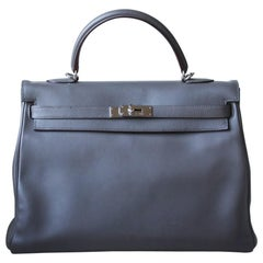 Hermès 35cm Etain Swift Palladium H/W Kelly Retourne Bag