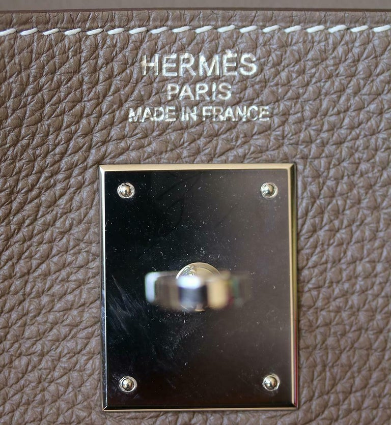 Hermès 35cm Etoupe Togo Palladium H/W Kelly Retourne Bag  For Sale 4