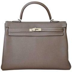 Hermès 35cm Etoupe Togo Palladium H/W Kelly Retourne Bag