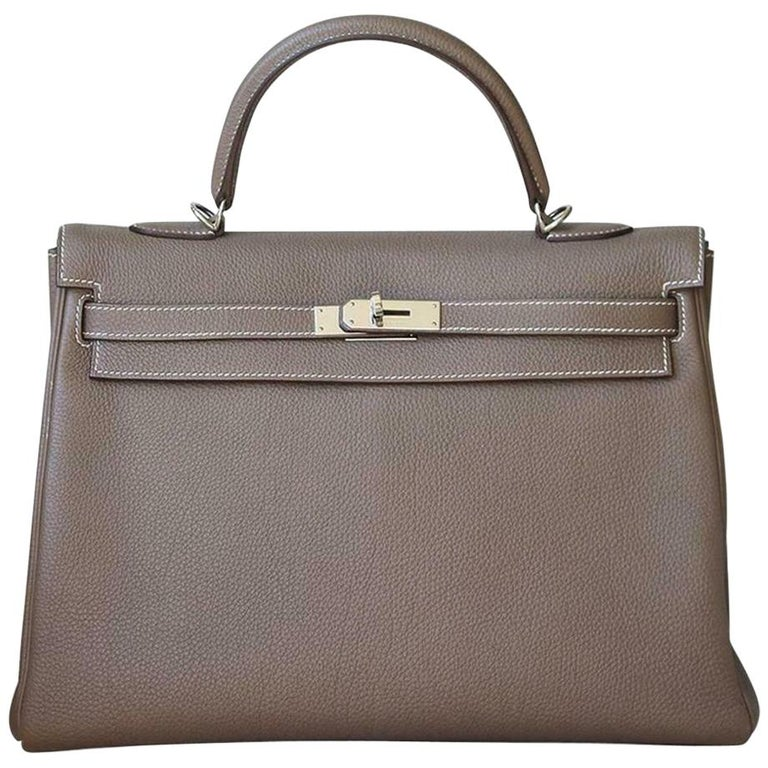 Hermès 35cm Etoupe Togo Palladium H/W Kelly Retourne Bag  For Sale
