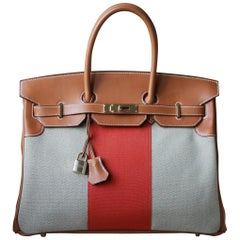 Hermès 35CM Flag Barenia Toile Permabrass H/W Birkin Bag