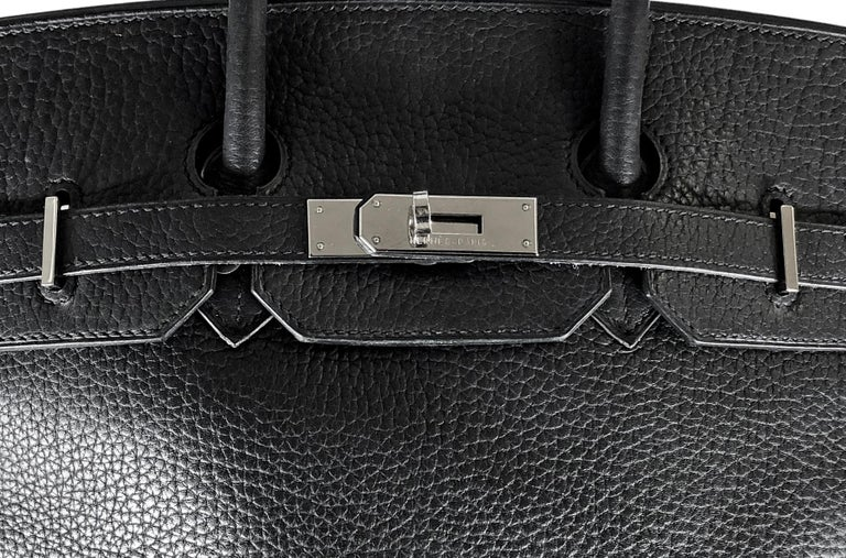 Hermes 35cm Noir Togo Leather Birkin Bag with Silver Hardware. This Hermés Birkin bag embodies the quintessence of style and luxury due to its impeccable design, craftsmanship, rarity and significance. As one of the the most iconic and desired
