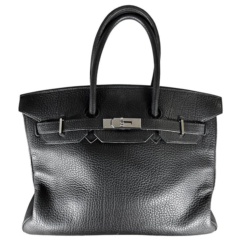 HERMES 35cm Noir Togo Leather Birkin Bag