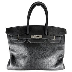 HERMES 35cm Noir Togo Leather Birkin Bag